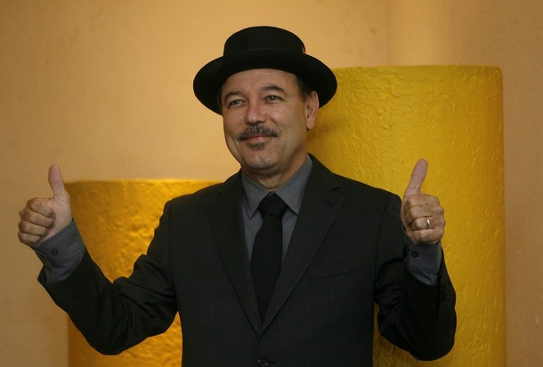 Panamanian salsa singer Ruben Blades poses before a news conference in Mexico City